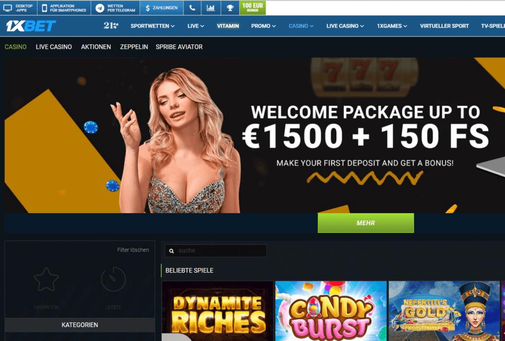 Spielen Sie die besten Online Casino Spiele bei 1xbet Casino und genießen Sie den 1xbet Bonus für Online Casino