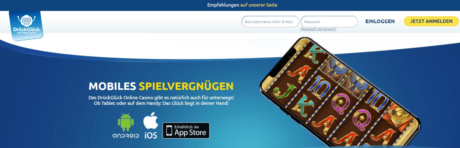 Mit der DrückGlück App können Sie überall spielen und Spaß haben, jetzt herunterladen und im DrückGlück Casino Deutschland spielen