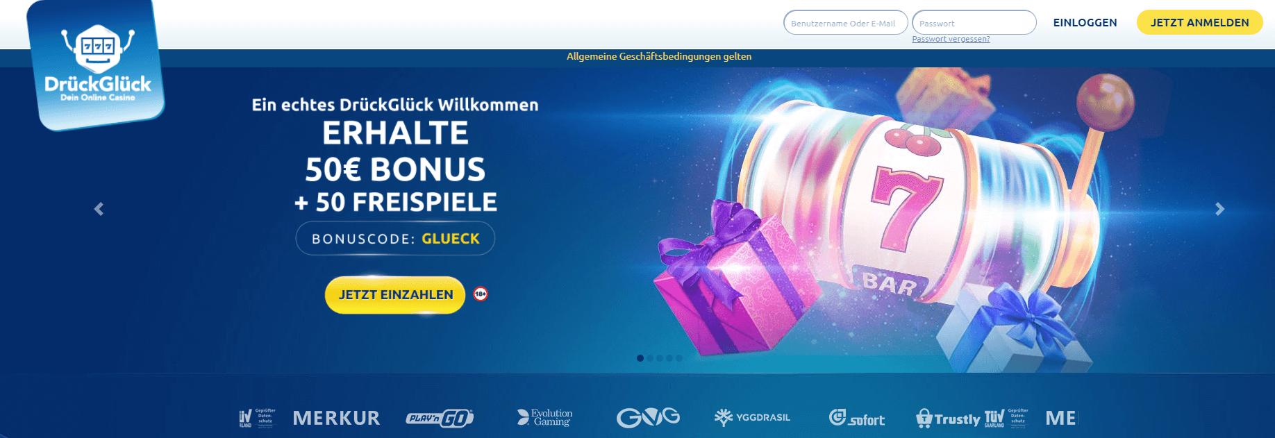 Nutzen Sie den unglaublichen DrückGlück Bonus und spielen Sie in der Vielfalt der Spiele, die das DrückGlück Casino Deutschland zu bieten hat
