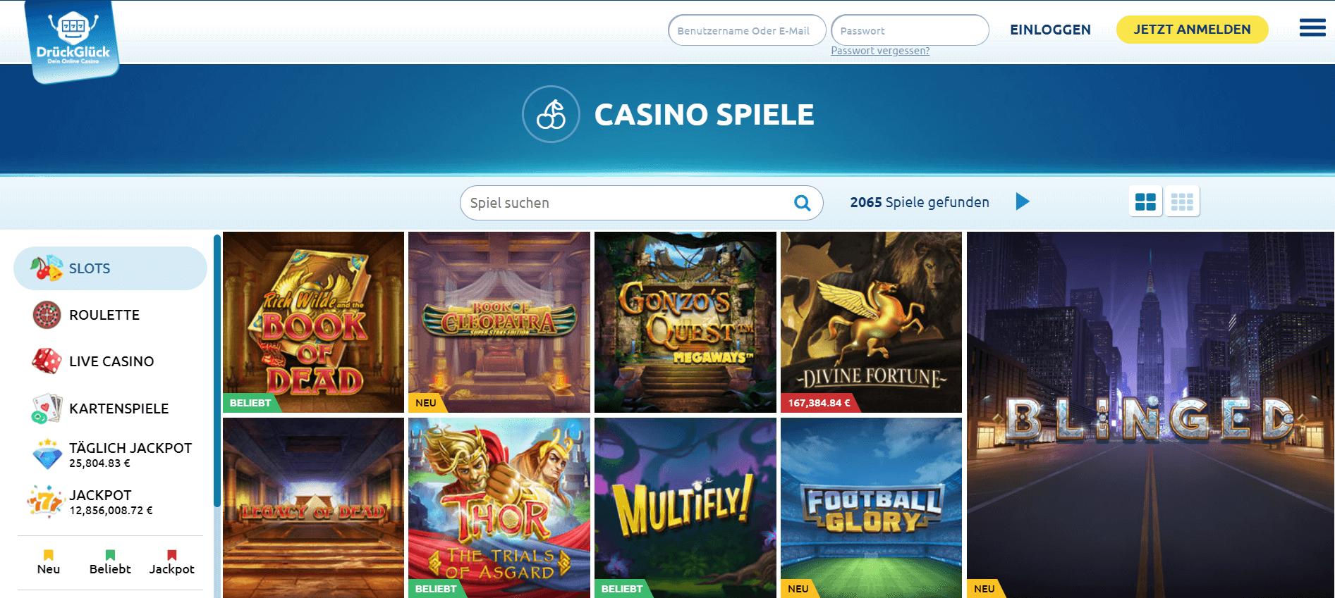 Im DrückGlück Casino Deutschland finden Sie die große Auswahl an Spielen, so dass Sie die tollste Zeit beim Spielen haben und den DrückGlück Bonus genießen können