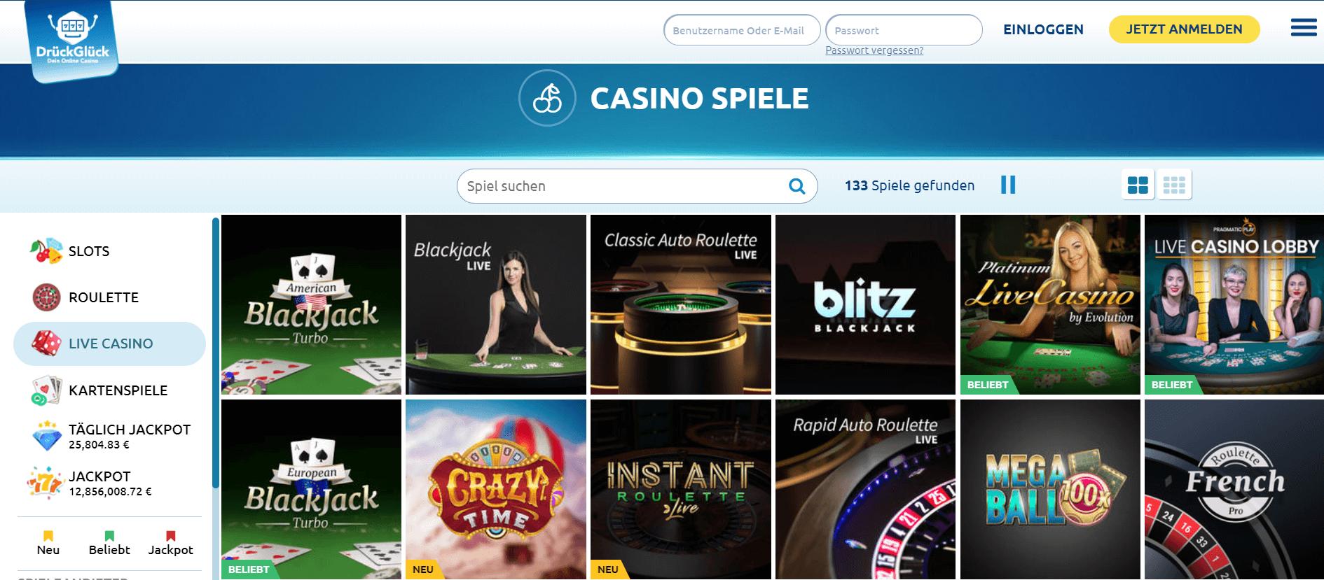 Spielen Sie live im DrückGlück Casino Deutschland und erleben Sie das Spielgefühl in einem echten Casino