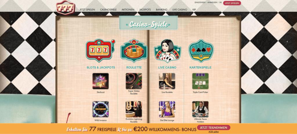 777 casino deutschland hat viele spiele zu bieten. spiele und habe Spaß mit ihnen