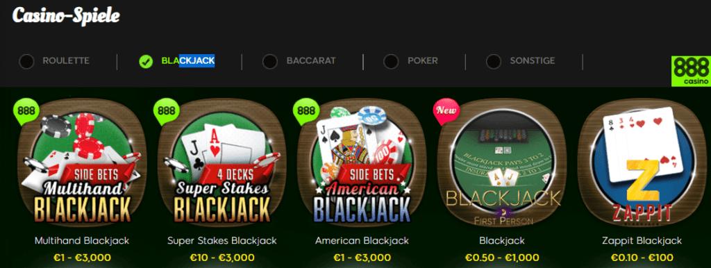 Wenden Sie alle Kenntnisse der Blackjack Regeln im 888 Casino auf Ihr Vermögen an