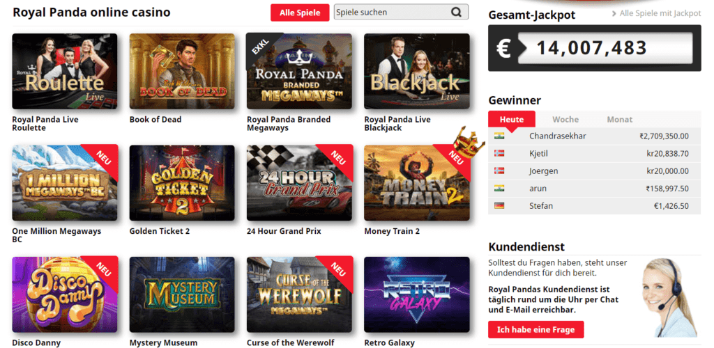 Das Royal Panda Online Casino bietet viele Spiele, die Sie amüsieren können. Kommen Sie zu Royal Panda Deutschland