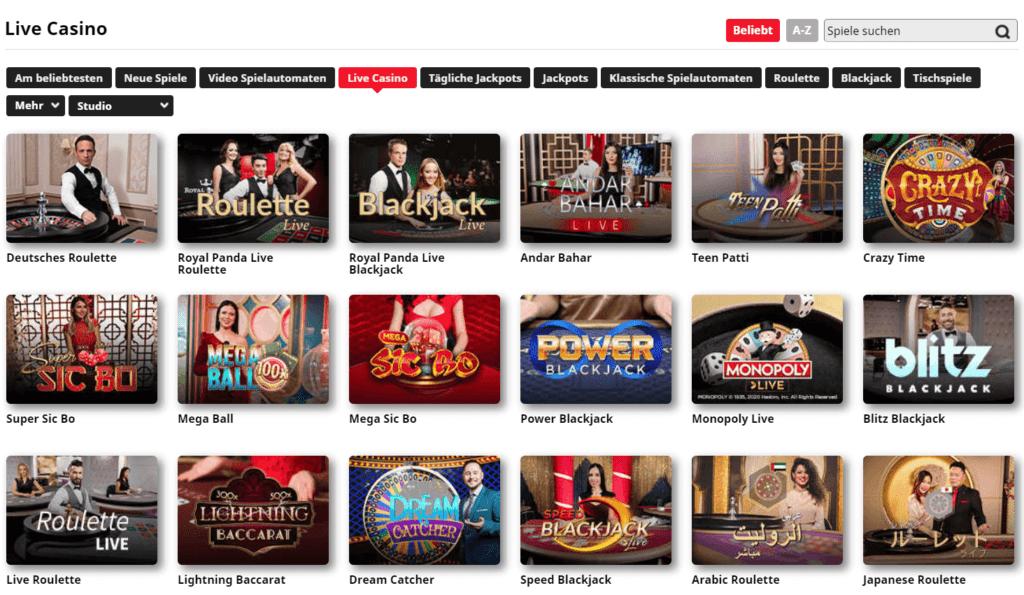 Royal Panda Deutschland hat die Möglichkeit, Live-Casino zu kommen und diese echte Erfahrung im Royal Panda Online Casino zu genießen